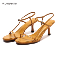 VIISENANTIN 2019 hot lady narrow band summer sandal shoe cool open toe 7cm thin heel dress solid color real leather