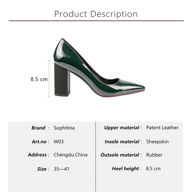 SOPHITINA Autumn Square Heels Pumps Dark Green Patent Leather Elegant Office Lady Pumps Sexy Pointed Toe