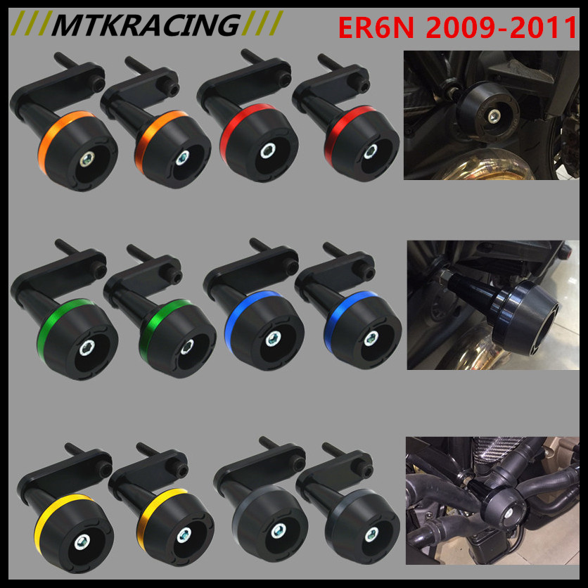 Free delivery New CNC Aluminum Motorcycle Falling Protection Left and Right Frame Sliders Protector For KAWASAKI ER6N 2009-2011