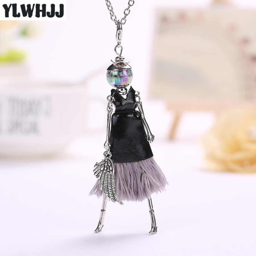 YLWHJJ nowy śliczne czarne skórzane lalki tassel długie naszyjniki dla kobiet marka dziewczyny wisiorek stop maxi biżuteria Collier femme
