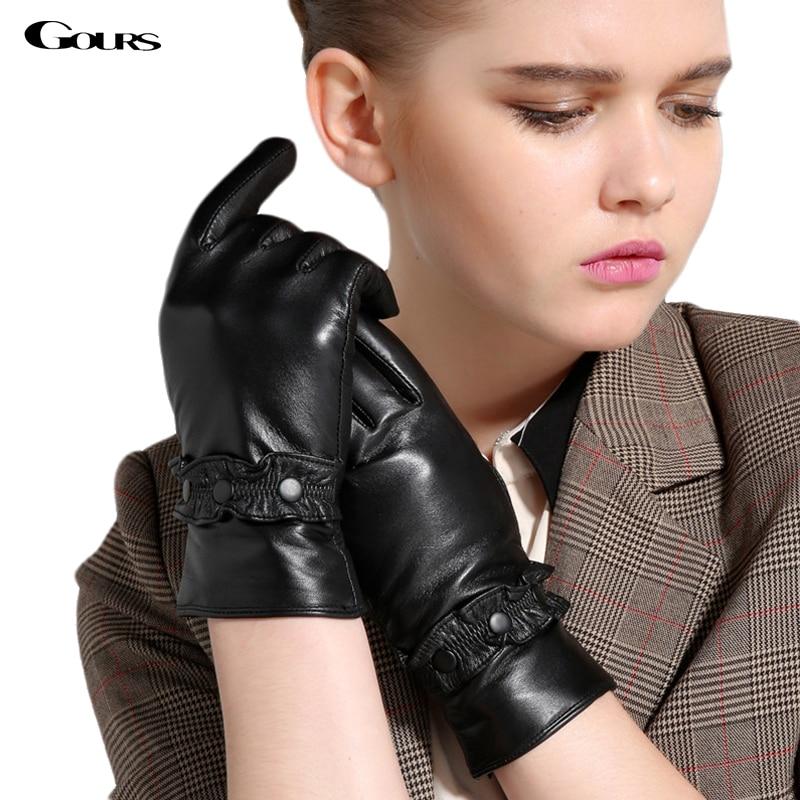 6fe22579277fe Touch Gloves 2019 Winter New Women Genuine Leather Gloves Goatskin Mittens  Buttons Black Plus Velvet Warm