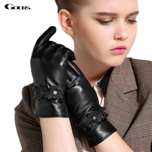 Touch Gloves 2014 Winter New Women Genuine Leather Goatskin Mittens Buttons Black Plus Velvet Warm Fashion Free Shipping