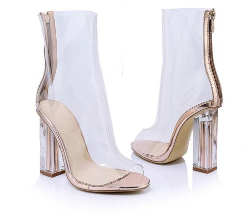 Summer new women peep toe chunky high heel ankle boots Fashion open toe clear transparent cool boots Ladies chunky heel sandals цена