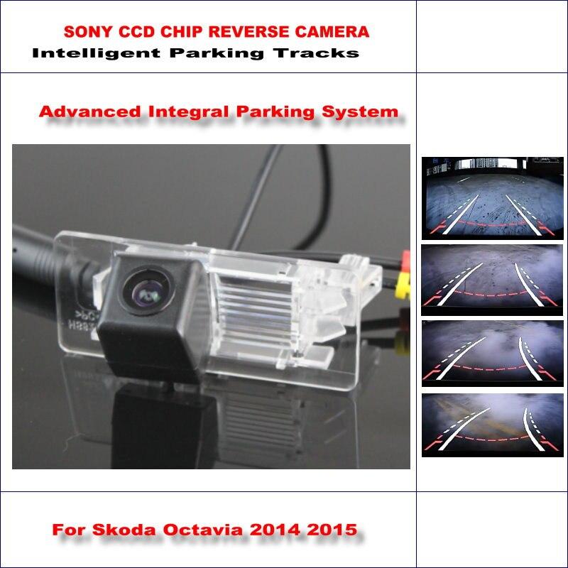 Caméra arrière intelligente de voiture de voies de stationnement pour Skoda Octavia/Skoda superbe sauvegarde inverse/NTSC RCA AUX HD SONY 580 lignes de télévision