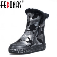 FEDONAS Fashion Women Snow Boots Warm Wool Winter Genuine Leather Boots Shoes Woman Platform Gold Silver Ankle Boots Big Size