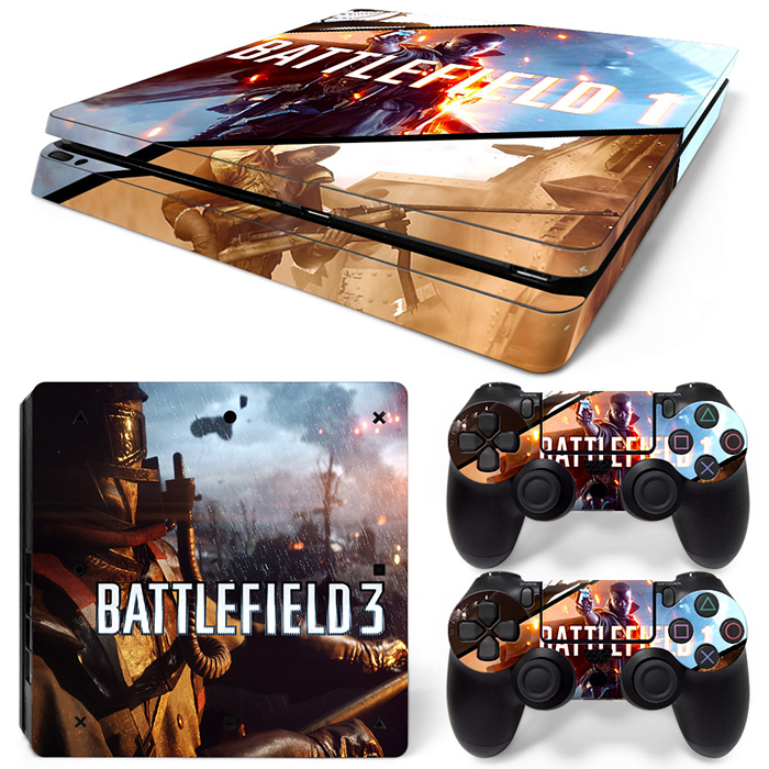 Battlefield 1 and Battlefield 3 video game sticker for PS4 slim console and two controller skin covers  #TN-P4Slim-1471