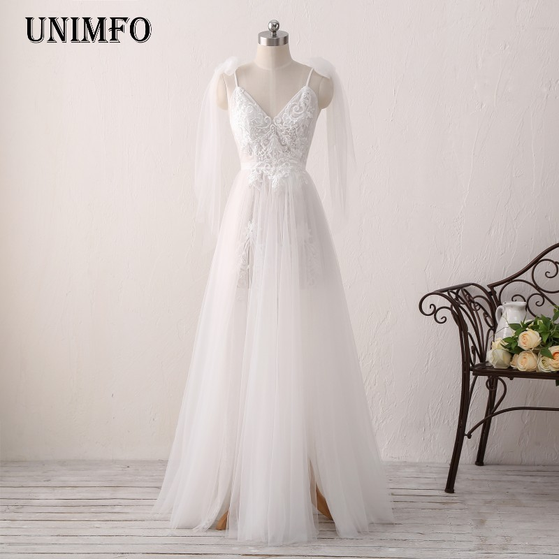 2019 New   Bridesmaid     Dresses   Junior Maid   Dress     Dress   With A-line V-neck Custom Made Prom Real Image Bow Split Tulle Lace