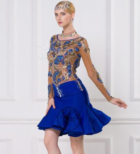 blue customize custom back cutout Rumba cha cha salsa tango Latin dance  competition dress with beads fbacb6173c62
