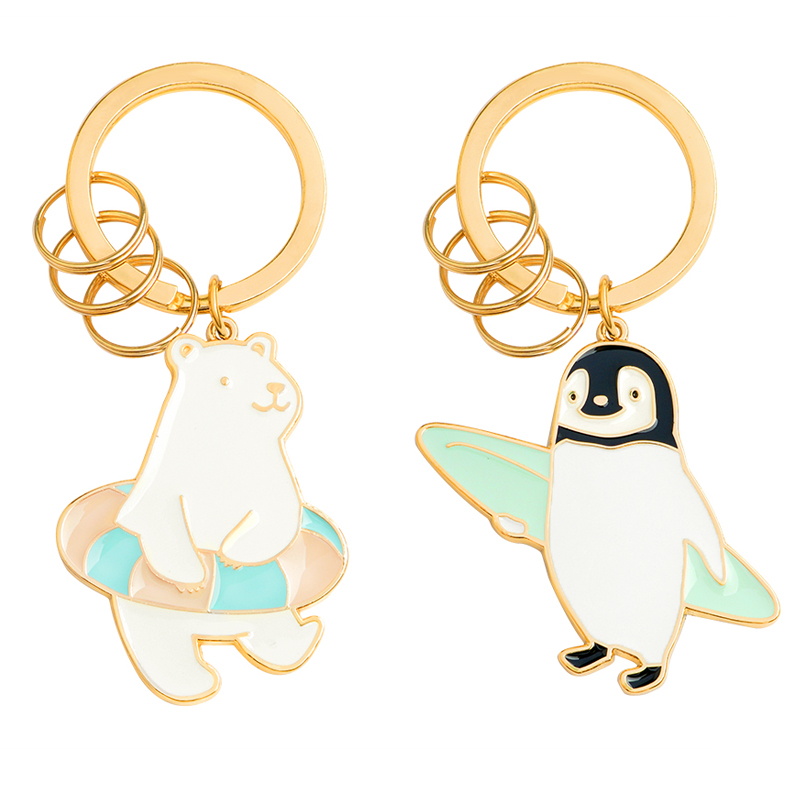 Cartoon cute Animal Keychain Penguin to Go Surfing Polar Bear to Swim Pet keyring men and women health sports jewelry child Gift ...
