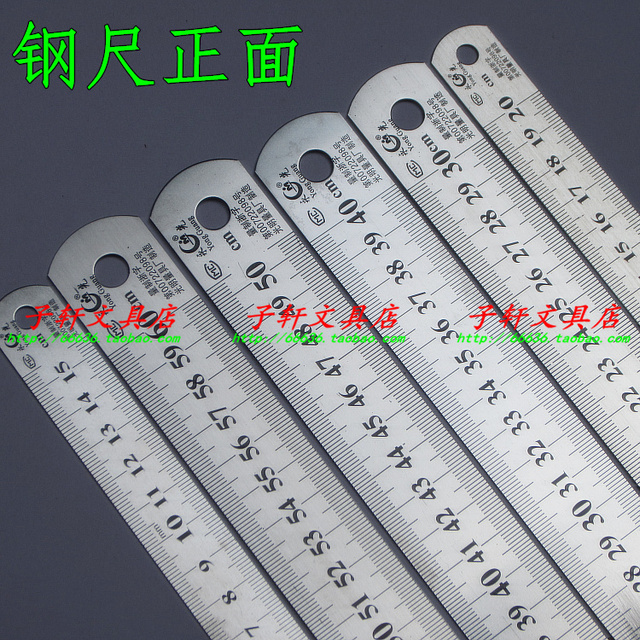 Sewing 6pcs 30cm 20cm 15cm 40cm 50cm 60cm Stainless Steel Metal Ruler Rule Precision Double Sided Measuring Tool free Shipping
