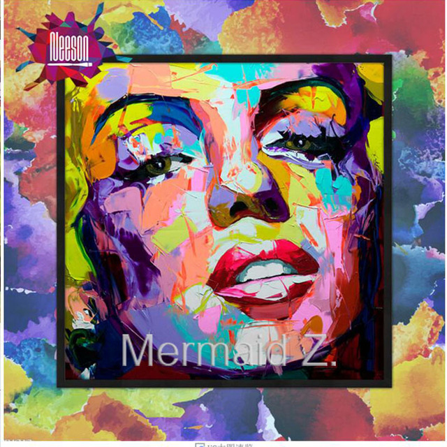 Hand Painted Marilyn Monroe Popular Art Palette Knife Painting Portrait Face Abstract Oil Impasto Figure