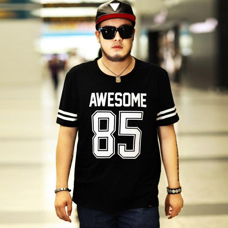 2018 new summer men plus fat plus size Round neck short sleeve half sleeve loose cotton Korean T-shirt Suit for 130kg Size 7XL
