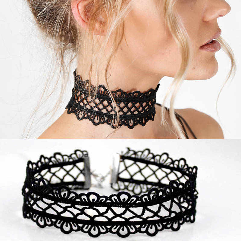 summer Newest  fashion jewelry accessories Sexy hollow out lace black  choker necklace for couple lovers'  N174