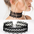 Nuevos accesorios de joyería de moda de verano Sexy hueco fuera de encaje negro gargantilla collar de los pares de los amantes N174