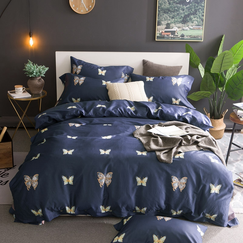 TUTUBIRD Royal Blue 100% Luxury Egyptian cotton Bedding Set butterfly princess bedlinen bed sheet set long staple duvet covers