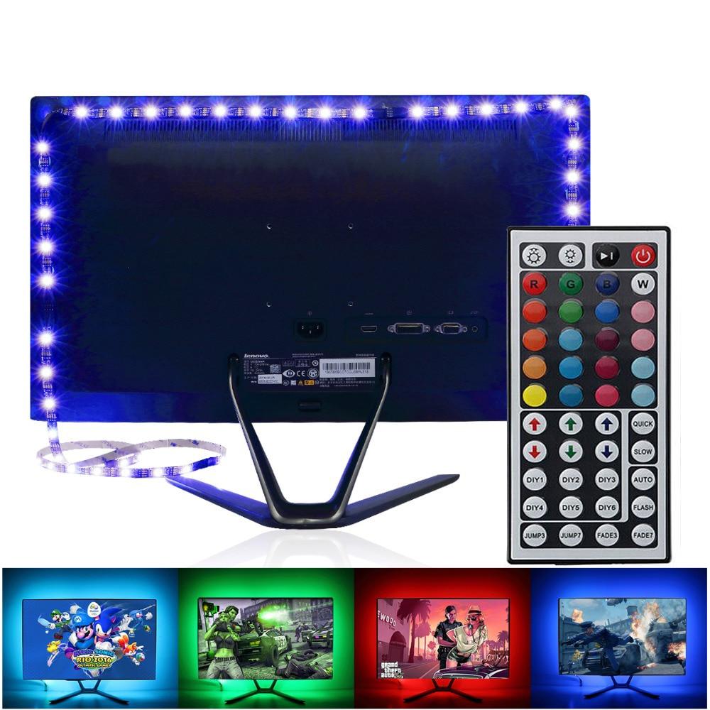 LED TV RGB Strip Light SMD 5050 DC 5V USB Power Supply LED Tape Ribbon PC Backlight TV Background Decor Lamp With 44 Key Remote