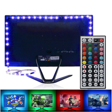 LED TV RGB Strip Light SMD 5050 DC 5V USB Power Supply LED Tape Ribbon PC Backlight TV Background  Decor Lamp With 44 Key Remote neoteck 1m led rgb strip color changing usb tv background lighting smd 5050 waterproof led ribbon tape for indoor outdoor decor