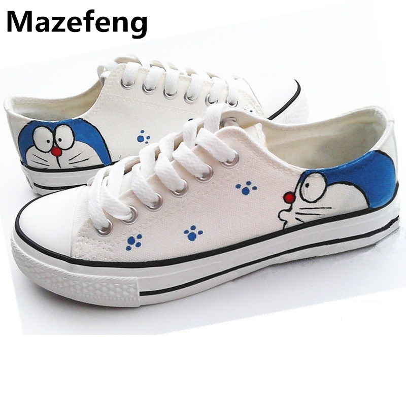 Doraemon Sapato Feminino Hand-painted Unisex Canvas Shoes Espadrilles Doodle Trend Korean brand Man Shoes Mujeres Zapatos