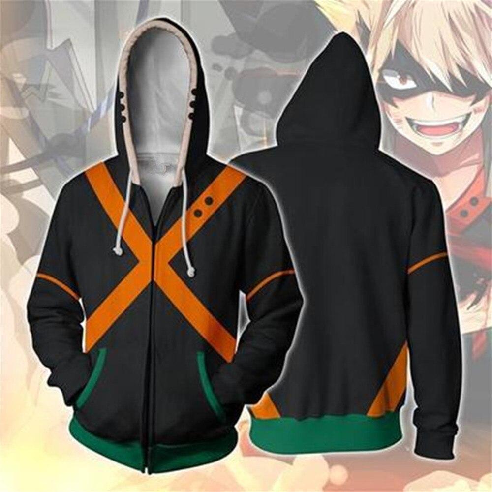 My Hero Academia Anime cosplay costume sweatshirts bakugo katsuki 3D hoodies New Men Women Fashion jacket
