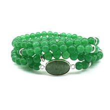 Natural Stone Beads Green Jades Mala Bracelets Yoga Necklace Elastic Bangle 74 cm Silver Color Hot Sale Drop Shipping