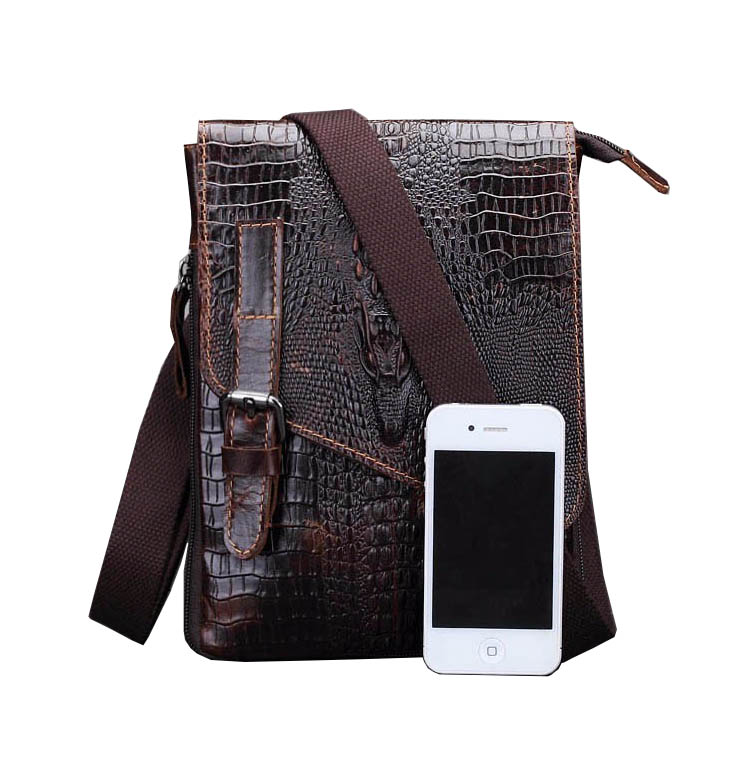 Fashion Crocodile Soft Real Leather Men Bag Small Shoulder Travel Crossbody Bags Male messenger bag for man Small Briefcase Bag