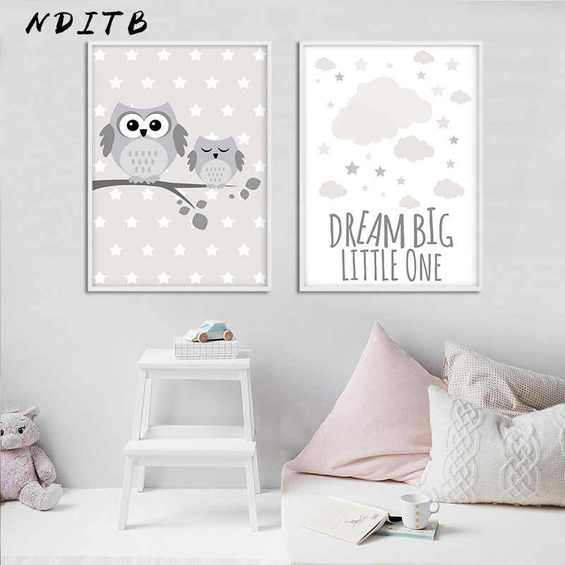 Woodland Animal Owl Canvas Poster Nursery Print Minimalist Wall Art Painting Nordic Kids Decoration Pictures Baby Room Decor