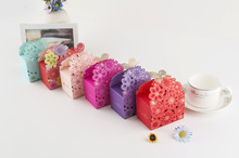 50 Pieces flowers Wedding Marriage CANDY Boxes favor Gift box cycling fiesta wedding souvenirs Gifts for guests butterfly