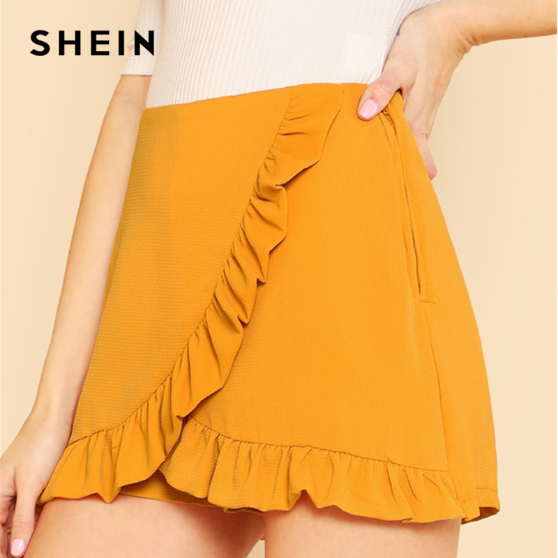 SHEIN Ginger Ruffle Trim Overlap Skort Vacation Mid Waist Zipper Fly Shorts Women Autumn Highstreet Beach Boho Party Shorts