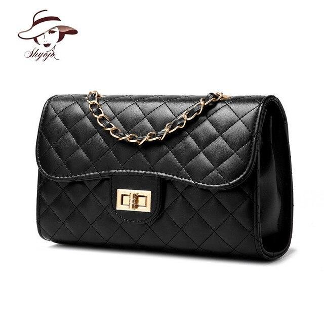 86fb47d562a8 2018 New Brand Desinger Fashion PU Leather Messenger Chain Bags Plaid Women  Mini Black Party Tote Clutch Handbag Crossbody Bag