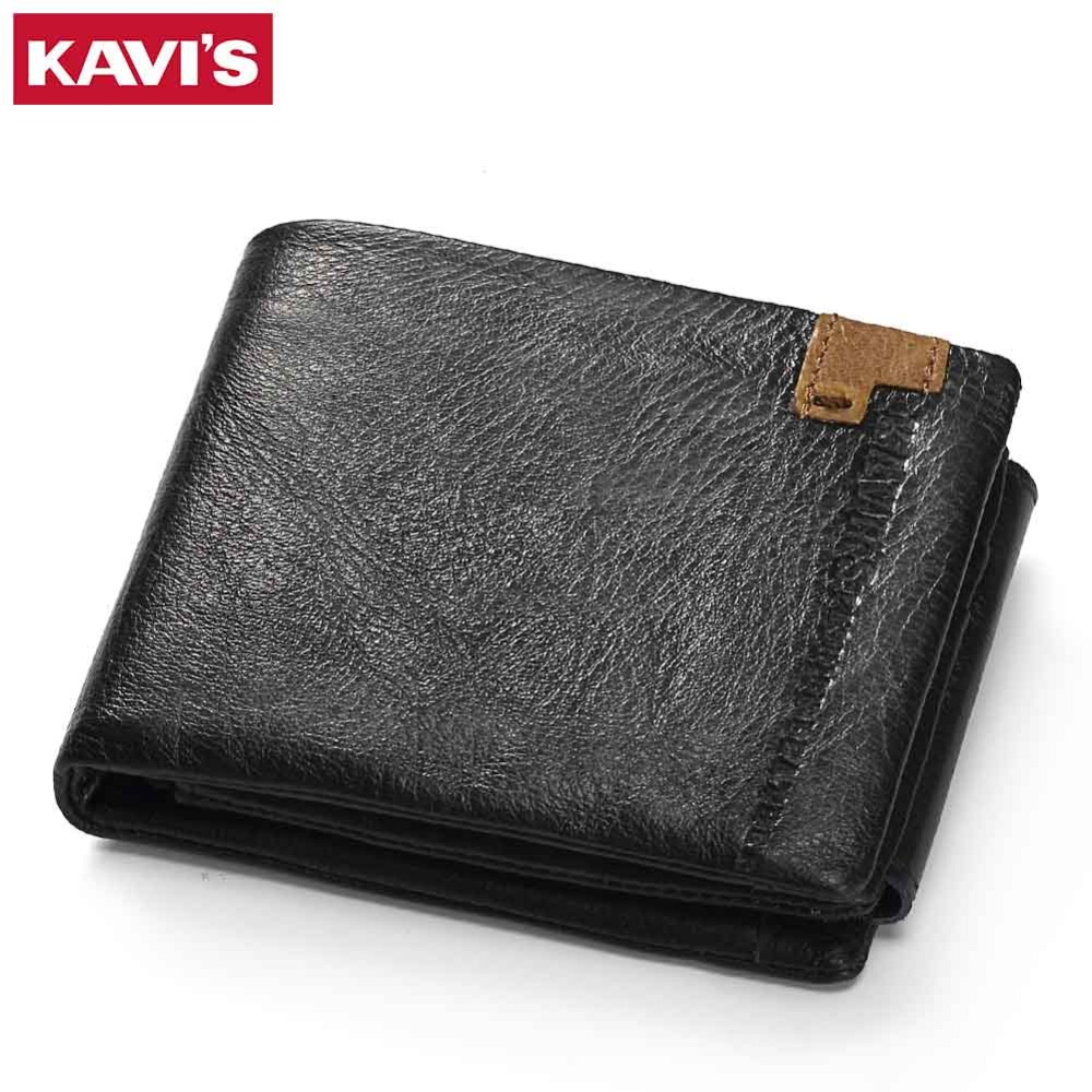 KAVIS Genuine Leather Wallet Men Coin Purse Small Portomonee PORTFOLIO Male Cuzdan Perse Vallet Walet Card Holders For Fashion leather smart wallet men designer vintage male purse multi card bit short wallet clutch men portfolio for men cuzdan vallet