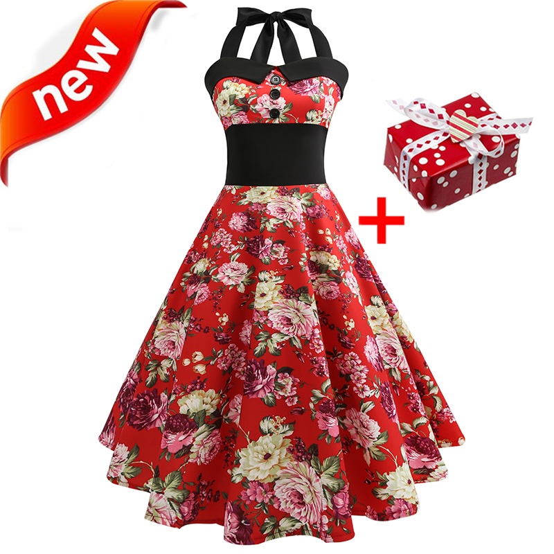 Dresses Summer Dress 2018 Plus Size XXL Halter Vintage 50s 60s Retro Floral Tunic Skater Strawberry Print Sexy Women Party Dress image