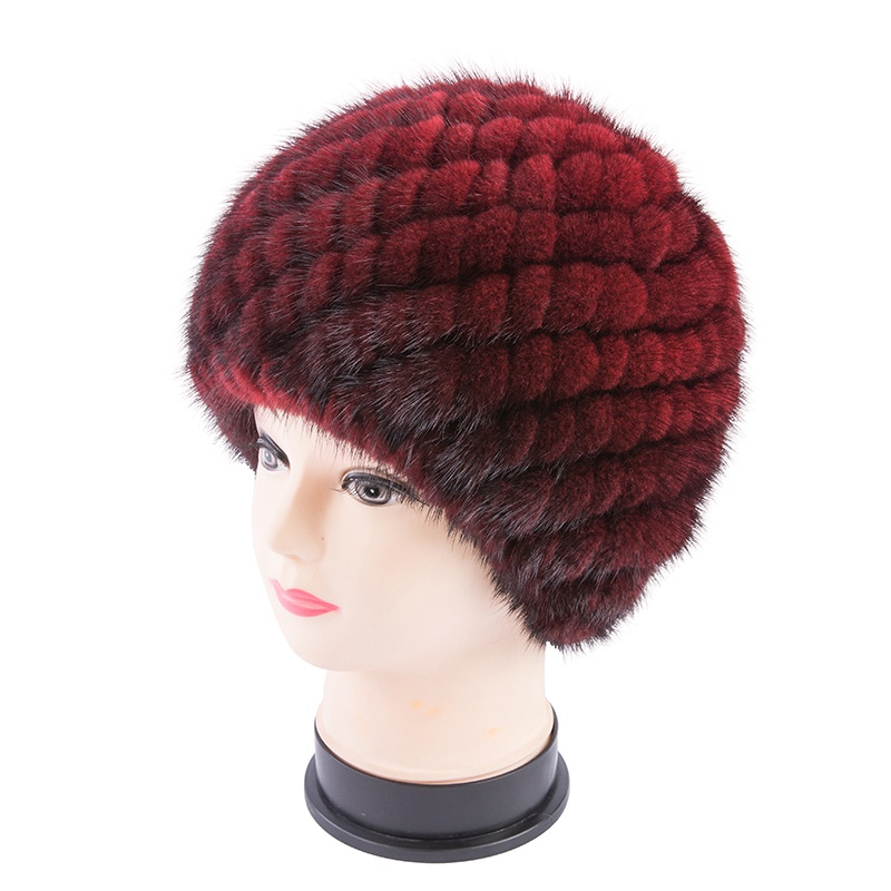 Handmade Women Real Knitted Mink Fur Skullies Beanies Hats  Winter Lady Lining Caps Fashion Headgear LF5175