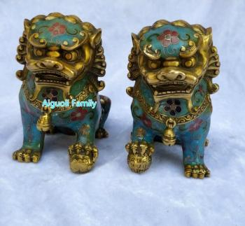 Art Collectible Chinese Old Cloisonne Bronze Carved 1 Pair Fu Foo Dog Statue/Home Decoration Animals Sculpture Good Gifts