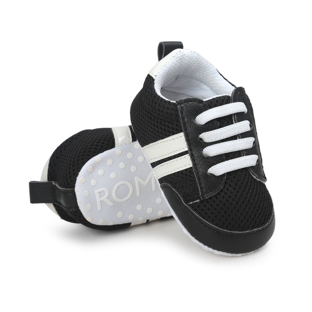 Breathable Mesh Baby Sneakers Bebes Newborn Baby Crib Shoes Boys Girls Toddler Soft Sole First Walkers Baby Striped Shoes 0-18 M
