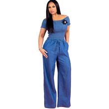 Sexy damski kombinezon dżinsowy niebieski Jean luźne pajacyki szerokie spodnie nogi długie spodnie kombinezony damskie Ruched sznurkiem na co dzień kombinezon tanie tanio WOMEN Kombinezony i Pajacyki Poliester spandex Pełnej długości Stałe NONE 4488 Denim Doyerl Sexy Fashion Elegant Vintage Formal