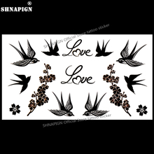 SHNAPIGN Love Birds Swallow Temporary Tattoo Body Art Arm Flash Tattoo Stickers 17x10cm Waterproof Fake Henna Painless Sticker