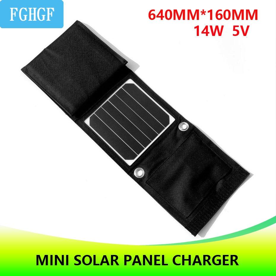 Chargeur solaire Portable 14 W pour téléphone Portable Camping extérieur voyage chargeur de panneau solaire pliable avec double Interface USB