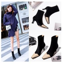 Winter boots woman 2019 new fashion square head women's high-heeled short boots solid color stiletto simple women's Martin boots(China)
