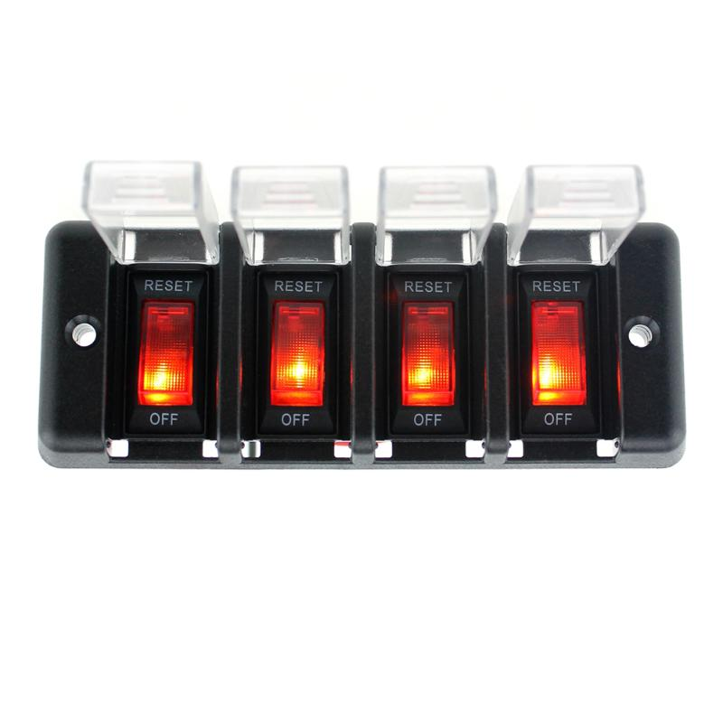 12V DC Car Auto Boat Auto 4X LED 12V Light Retangle ON/OFF Rocker Toggle Switches g126y 2pcs red led light 25 31mm spst 4pin on off boat rocker switch 16a 250v 20a 125v car dashboard home high quality cheaper