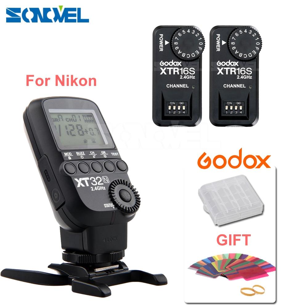 Godox XT32N 2.4G Wireless 1/8000s HSS Flash Trigger + 2X XTR-16S for Nikon /GODOX V850/V860/V850II/V860C V860N V860 II Flash godox x1t s ttl 2 4g wireless trigger for sony 2x xtr 16s flash receiver for v850 v860 c v850ii v860iic v860n v860ii f v850ii