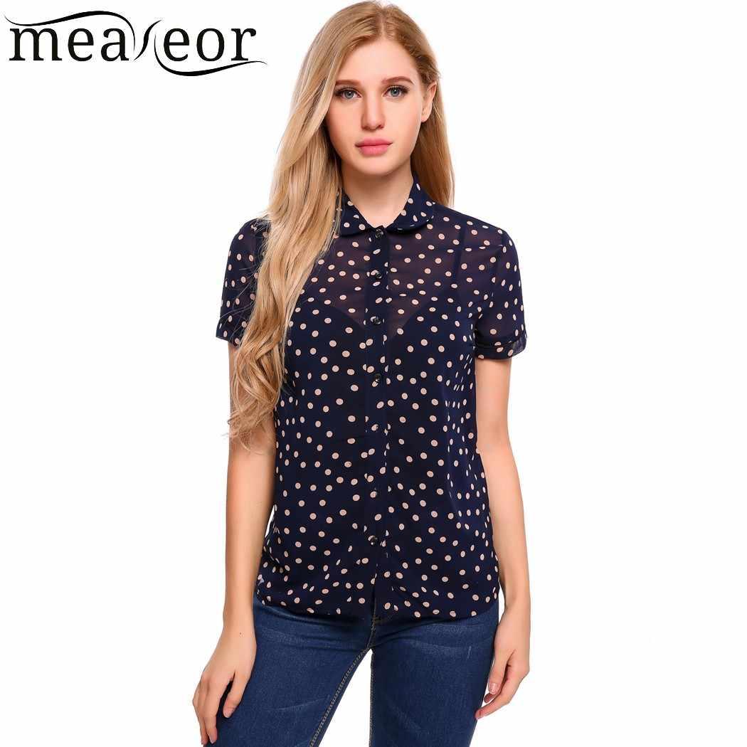 Meaneorチュールドット半薄手のシフォンブラウス女性のシースルーシャツ襟トップススリムカジュアル夏女性ブラウス