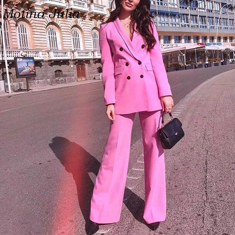 Motina Julia COOL Pink Double Breasted Blazers Outerwear Jackets Women Streetwear 2019 Trendy Blazers Tops Female
