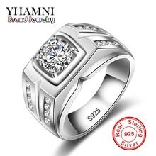 YHAMNI Hot Sale Brand Fashion Men 925 Sliver Ring Engagement Ring Sliver Plated CZ Zircon Popular Men Jewelry MJ004