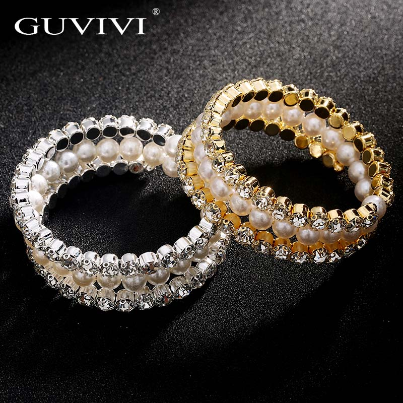 vintage style Style Bridal Lots Pearl Clear Crystal Stretch Chain Bracelet Gold