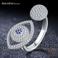 ANFASNI Fashion 925 Sterling Silver Rings Blue Eyes Open Finger Ring For Women Elegant Bague Jewelry