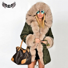 BFFUR Parka Real Fur Coat For Women Whole Skin Womens Coats 2019 Winter Russian Fur Coat Hooded Leather Warm Jacket Real Fox Fur цена