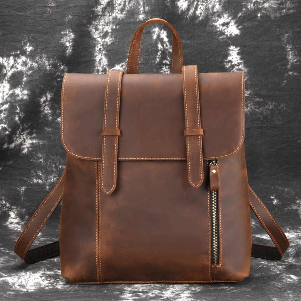 Diseñador Manual genuino Crazy Horse piel de vaca hombres portátil mochila famosa marca Retro señora mochila de viaje mochila