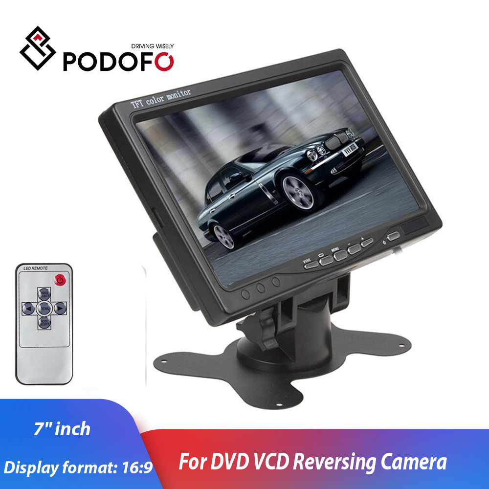Podofo 7 Color TFT LCD DC 12V Car Monitor Rear View Headrest Display With 2 Channels