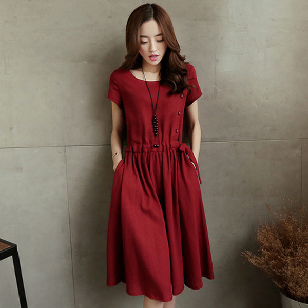 Knee Length Linen Dress