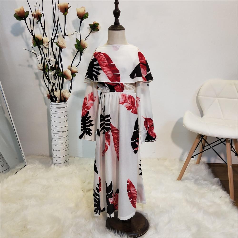 2019 new elegent fashion style autumn muslim small girl printing plus size long abaya S-4XL